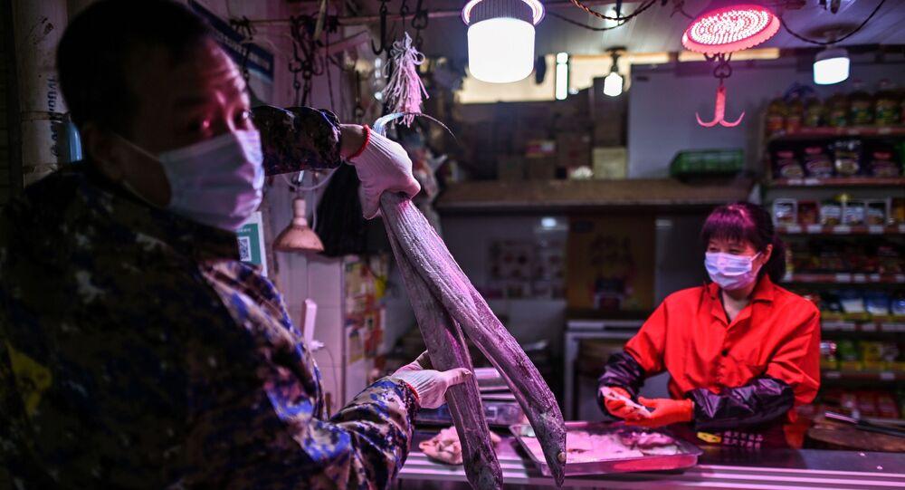El mercado de animales y mariscos en la ciudad china de Wuhan