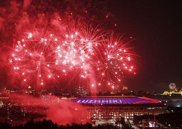 Los juegos artificiales por el Día de la Victoria en Moscú