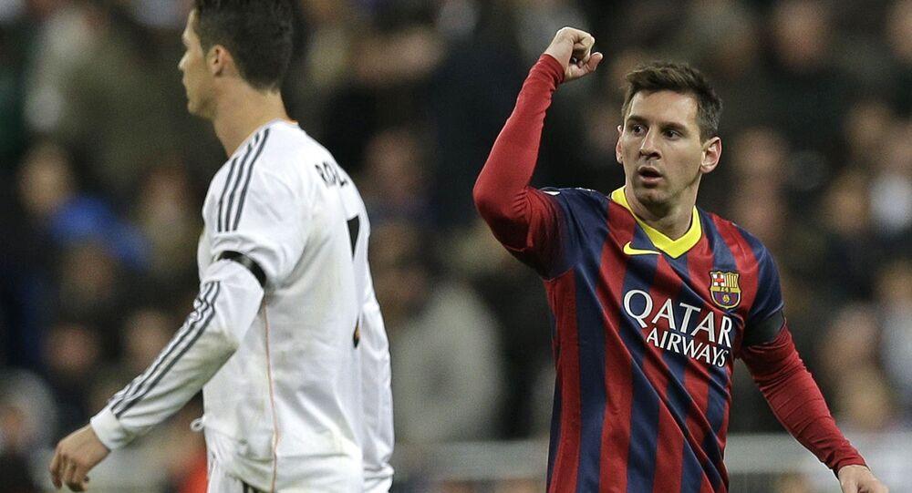 El delantero portugués Cristiano Ronaldo y su colega argentino Lionel Messi