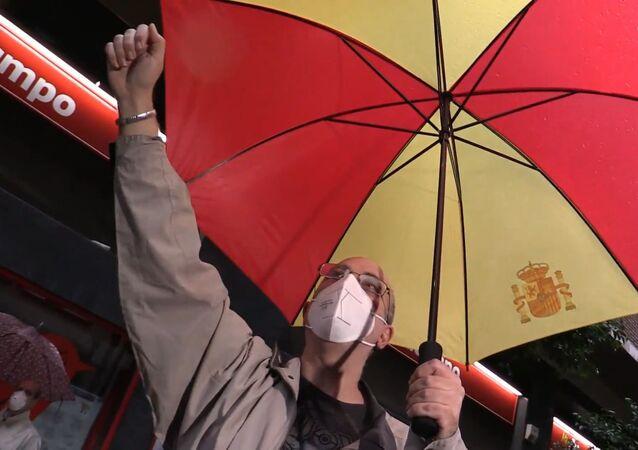 Protestas en el barrio madrileño de Salamanca por la gestión del Gobierno durante la pandemia
