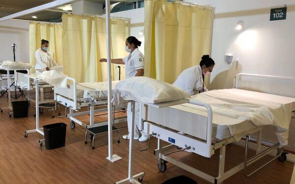 El Hospital de expansión Autódromo Hermanos Rodríguez en Ciudad de México durante la pandemia de COVID-19 - Sputnik Mundo
