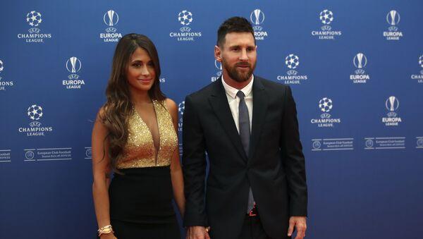 Lionel Messi y su esposa Antonella Roccuzzo - Sputnik Mundo