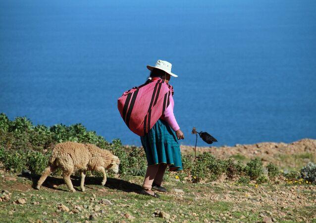 Una mujer en el lago Titicaca, Perú (imagen referencial)