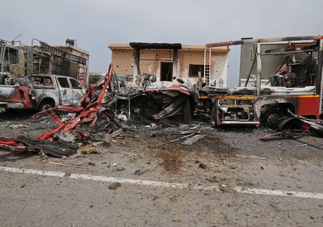 Un lugar de explosión en Trípoli (archivo)