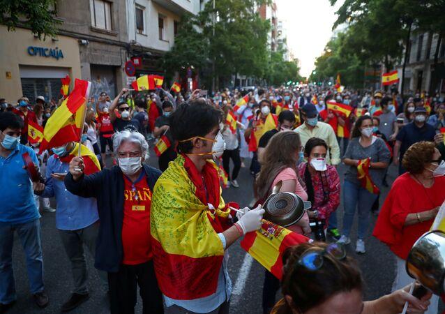 Protestas en España durante el brote de coronavirus