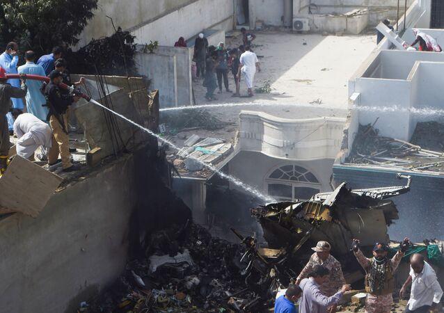 Lugar del siniestro del avión de Pakistan Airlines