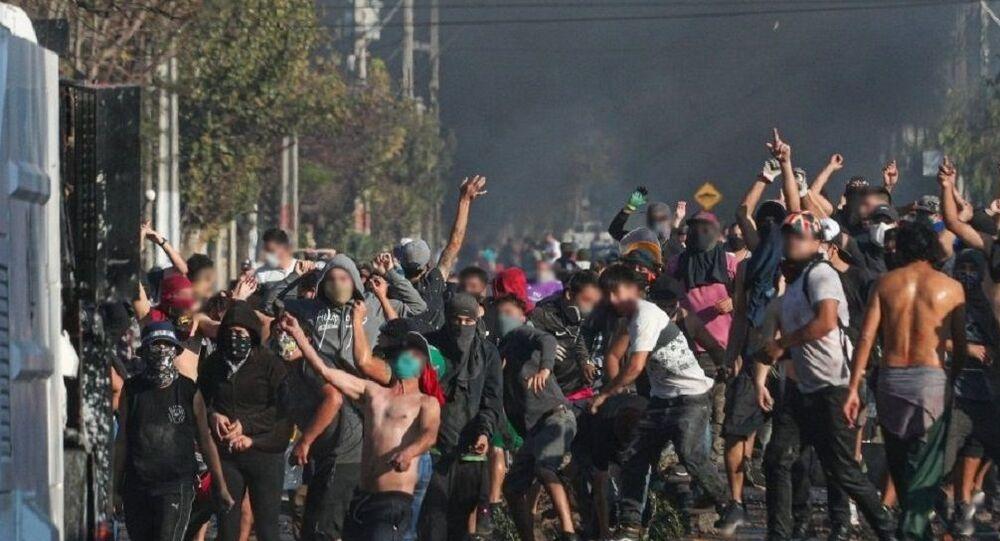 Manifestaciones de protesta en El Bosque, Santiago