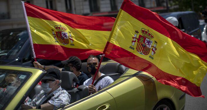 Manifestantes en la protesta de Vox en Barcelona