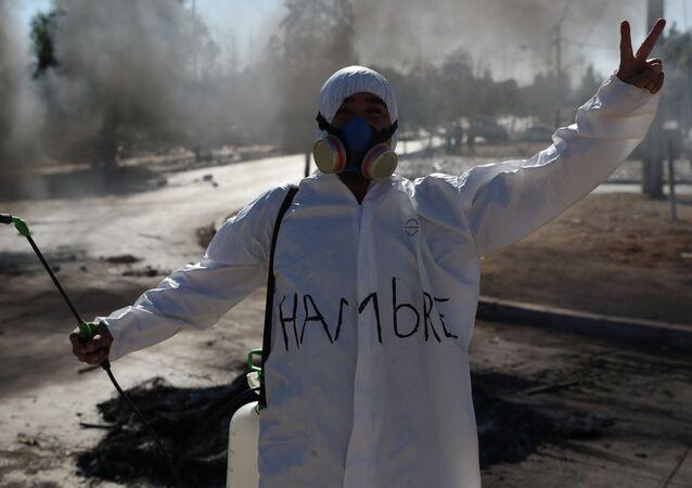 Protestas en Santiago durante el brote de coronavirus en Chile
