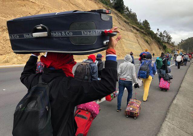 Migrantes venezolanos en Ecuador (archivo)