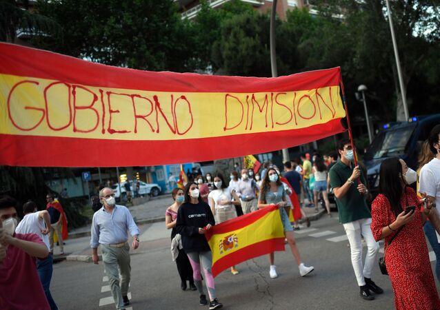 Protesta contra el Gobierno español en Madrid