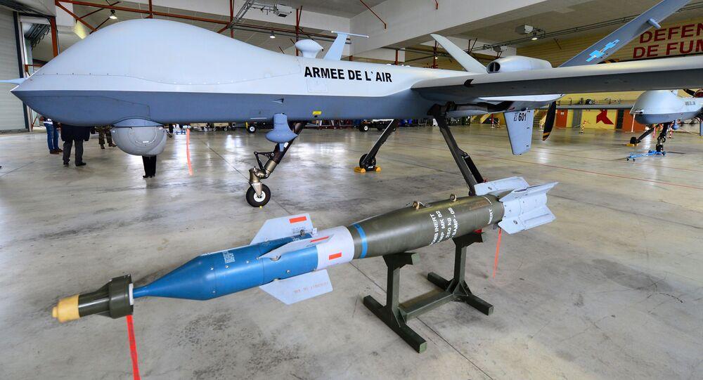 El dron del Ejército del Aire francés MQ-9 Reaper con una bomba GBU-12 Paveway (imagen referencial)