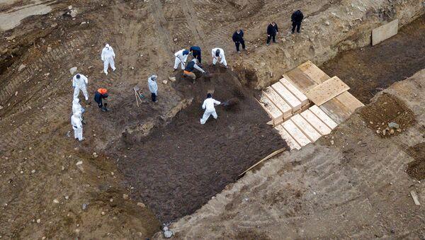 Excavación de fosas comunes en la isla de Hart, Nueva York, para los enfermos de coronavirus - Sputnik Mundo