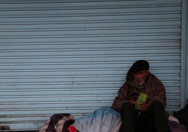 Una persona sin techo en Chile