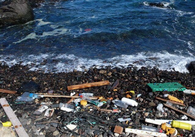 Basura arrastrada por el mar a la orilla (imagen referencial)