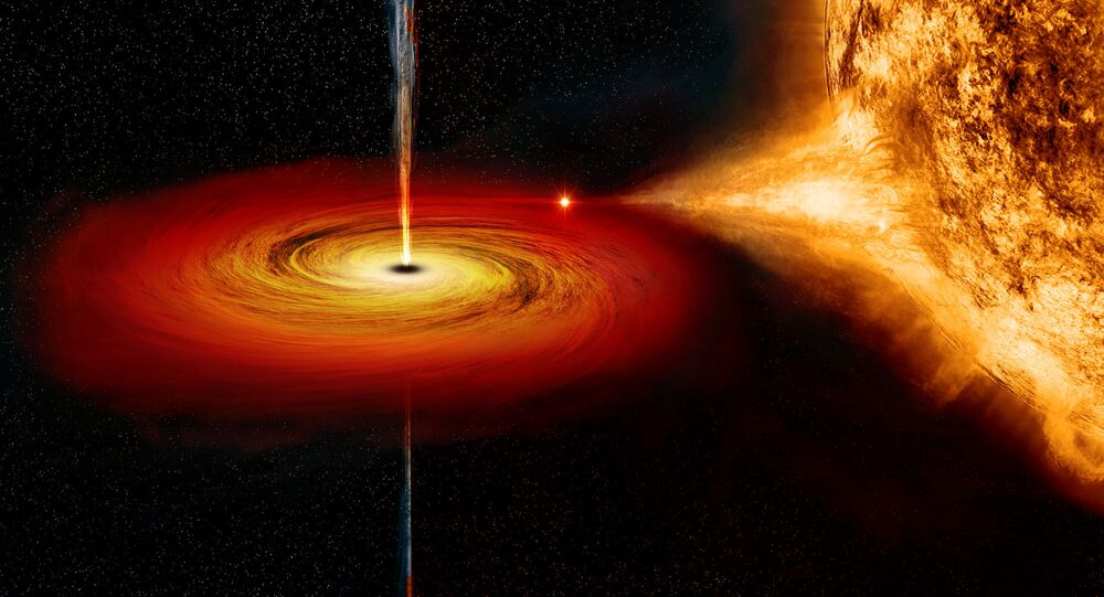 Ilustración de un agujero negro acumulando materia de una estrella compañera y produciendo chorros