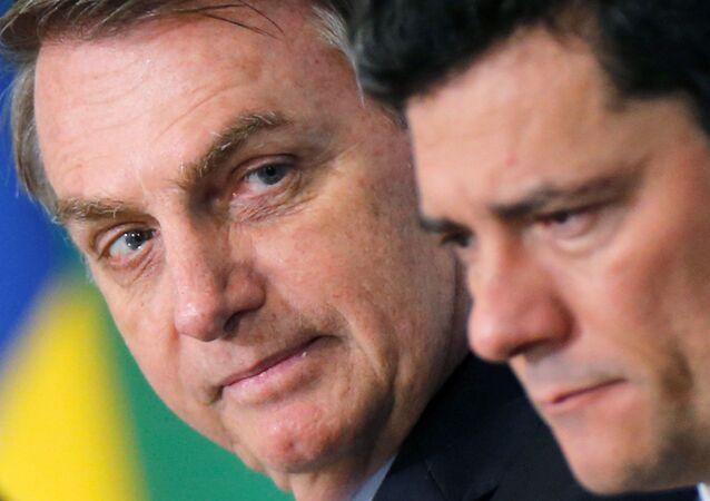 El presidene de Brasil, Jair Bolsonaro, y el exministro Sérgio Moro