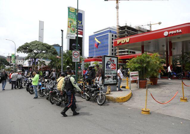 Una estación de servicio en Caracas