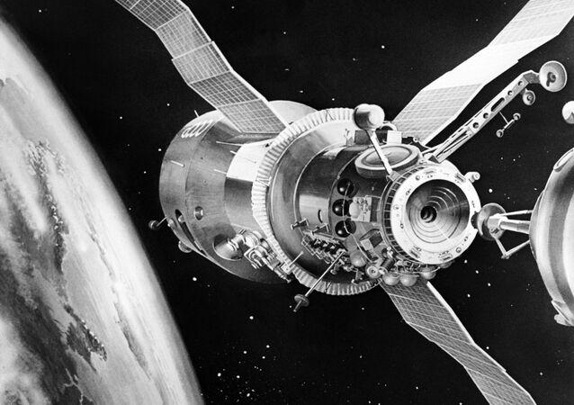 Salyut-7, estación espacial soviética (ilustración)