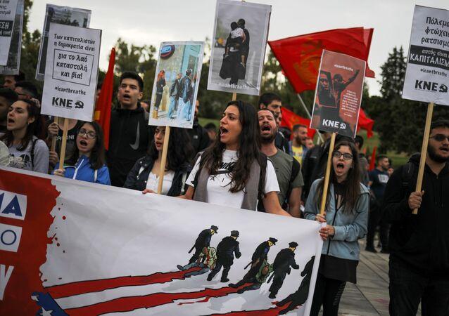Protesta en Atenas, archivo