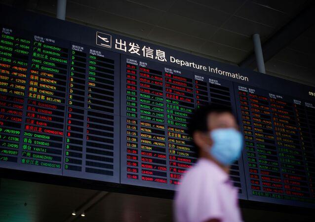 Una pantalla del Aeropuerto Internacional de Shanghái-Hongqiao, China