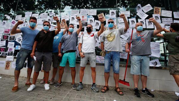 Trabajadores de Nissan protestan contra el cierra de la Zona Franca en Barcelona - Sputnik Mundo