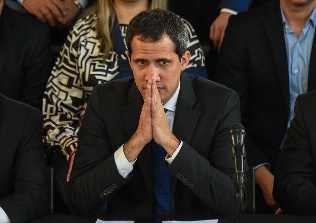 El líder de la oposición Juan Guaidó en un acto en Caracas