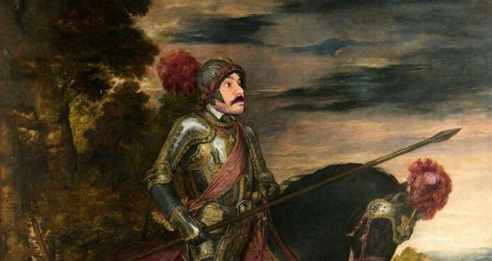 Paco Pajuelo, vestido como Carlos V