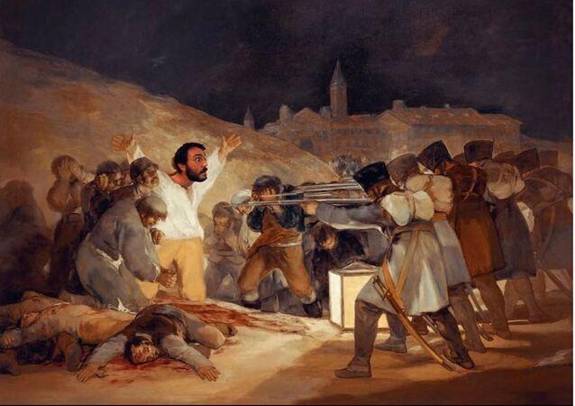 Paco Pajuelo, profesor de Historia del IES Siglo XXI de Sevilla, en el cuadro de Francisco Goya