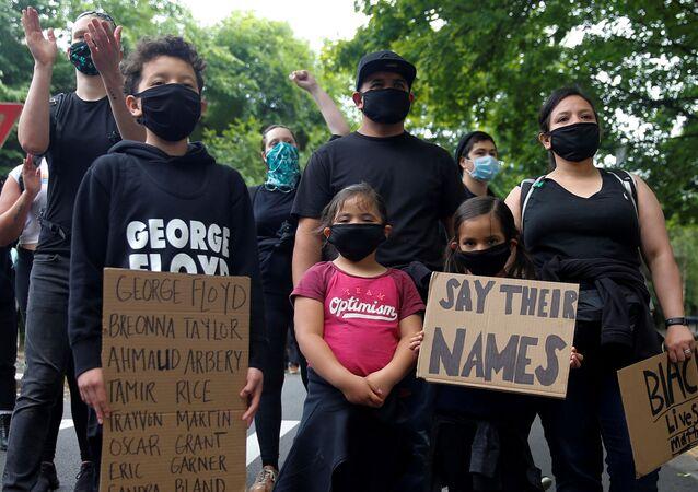 Manifestantes en Seattle