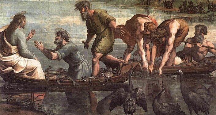 La pesca milagrosa, el primer cartón de la serie de Rafael