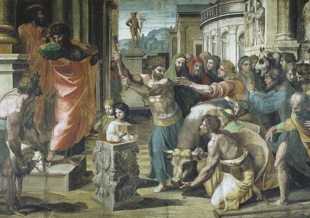 Cartón de Rafael 'San Pablo y Bernabé en Listra'