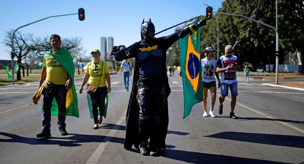 Manifestación a favor de Bolsonaro en Brasilia
