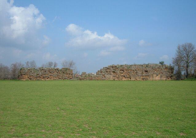 Los restos del muro de Falerii Novi, la antigua ciudad romana