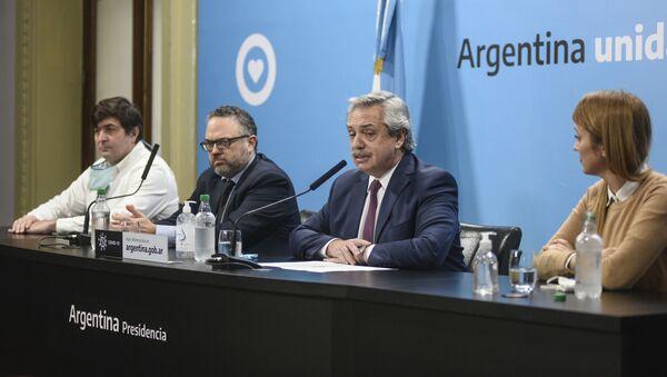 El presidente de Argentina, Alberto Fernández, anunciando la intervención de Vicentin - Sputnik Mundo