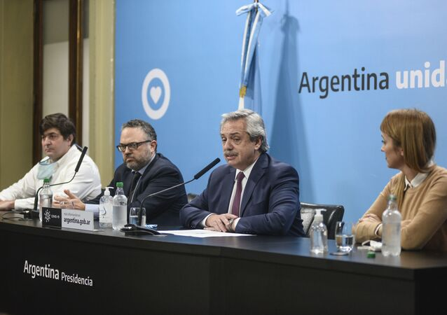 El presidente de Argentina, Alberto Fernández, anunciando la intervención de Vicentin