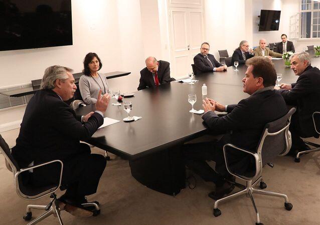 El presidente de Argentina, Alberto Fernández, reunido con el CEO de Vicentin, Sergio Nardelli