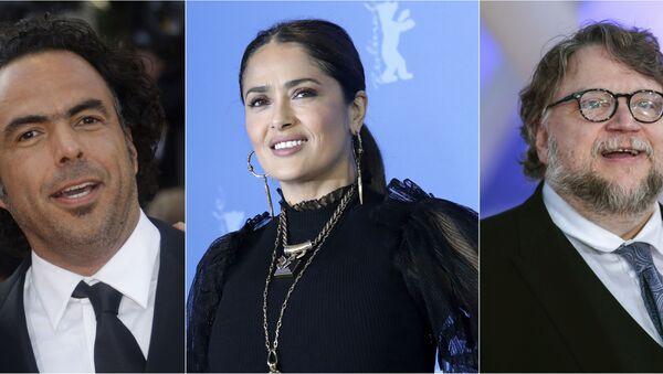 Los cineastas mexicanos Alejandro González Iñárritu, Salma Hayek y Guillermo del Toro - Sputnik Mundo