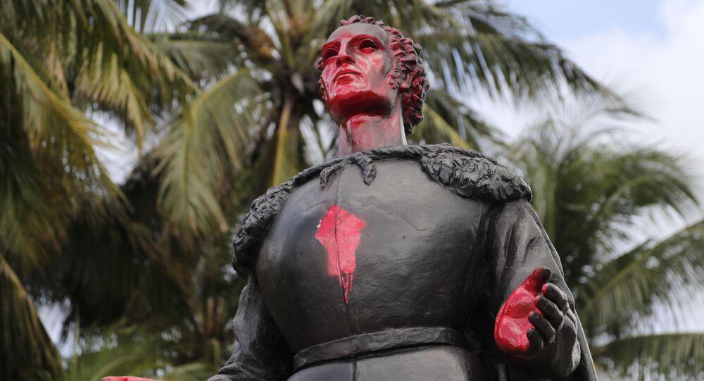 Una estatua de Cristóbal Colón en Miami