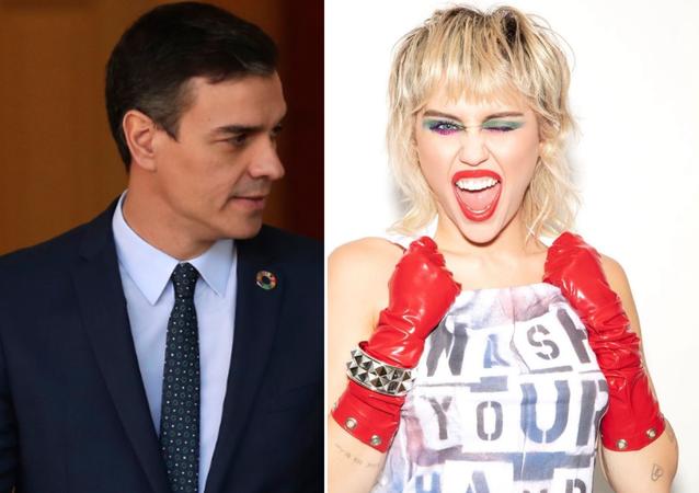 Pedro Sánchez y Miley Cyrus