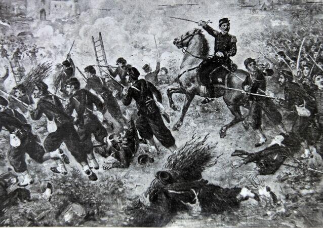 Una reproducción de la Batalla de Curupati durante la Guerra de la Triple Alianza