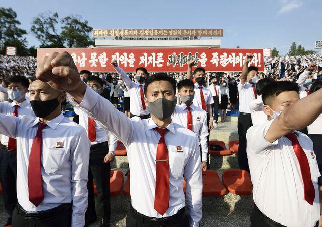 Manifestación contra acciones de desertores en Corea del Norte
