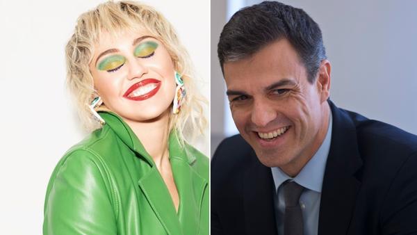 Miley Cyrus y Pedro Sánchez - Sputnik Mundo
