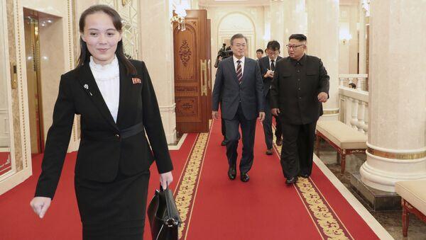 Kim Yo-jong durante el encuentro entre Moon Jae-in y Kim Jong-un - Sputnik Mundo