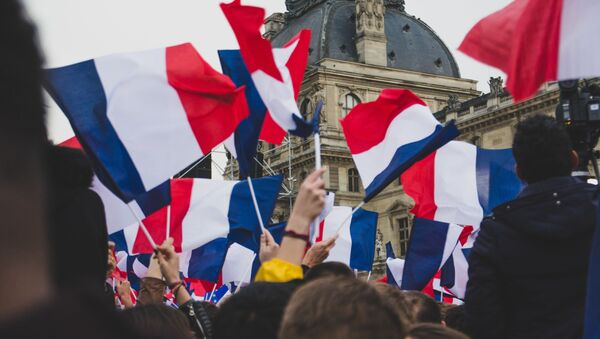 Banderas de Francia en una manifestación - Sputnik Mundo