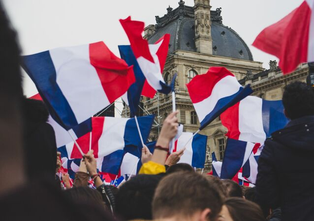 Banderas de Francia en una manifestación