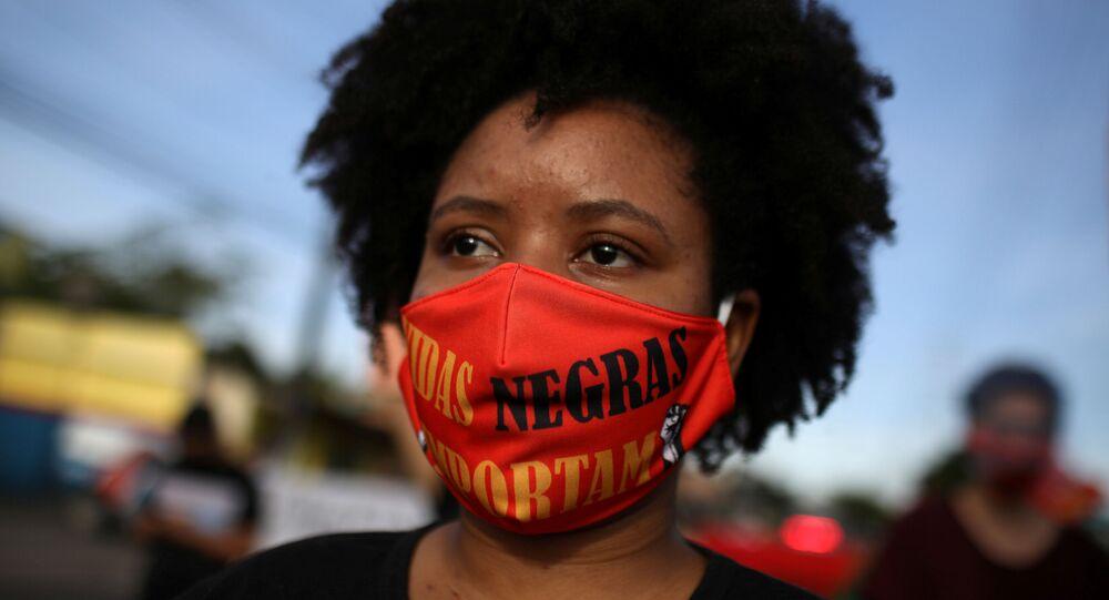 Protesta antirracista en Manaos, Brasil
