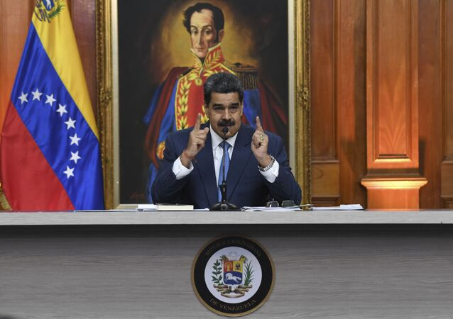 Nicolás Maduro, presidente de la República Bolivariana de Venezuela en una rueda de prensa en Miraflores, 14 de febrero 2020