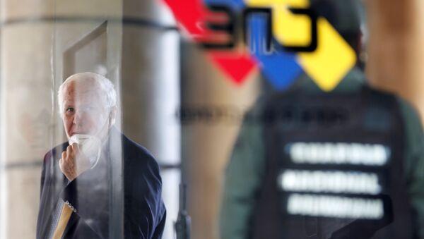 Rafael Simón Jiménez Melean, vicepresidente del Consejo Nacional Electoral de Venezuela, y el logo del organismo - Sputnik Mundo
