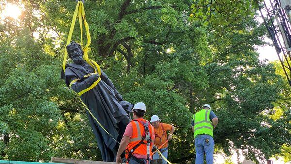 Estatua de Cristóbal Colón en Tower Grove Park, Missouri, EEUU - Sputnik Mundo
